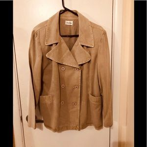 Neiman Marcus tan double breasted jacket blazer 12